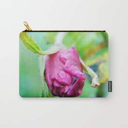 Rolled-up Wet Rose Carry-All Pouch