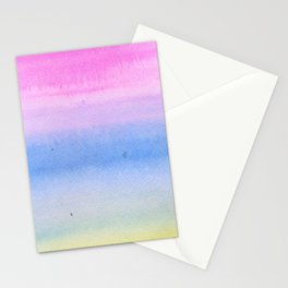 Hand painted pink blue yellow ombre watercolor paint Stationery Cards