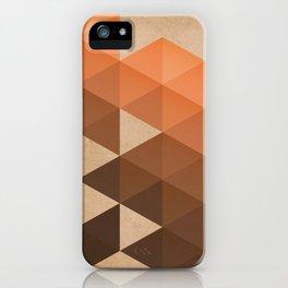 Warm Brown  -  Geometric Triangle Pattern iPhone Case