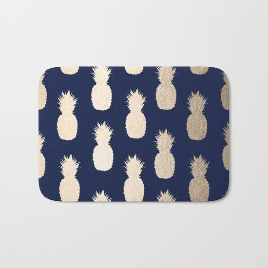 Gold Pineapple Pattern Navy Blue Bath Mat