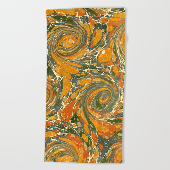 Old Marbled Paper 03 Beach Towel