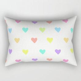 Cute Pastel Rainbow Hearts Pattern Rectangular Pillow