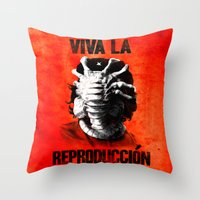 che Throw Pillows featuring CHE-HUGGER by BeastWreck
