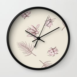 Pink bugs Wall Clock