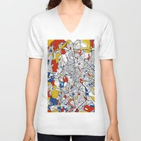 rome V-neck T-shirts featuring Rome by Mondrian Maps