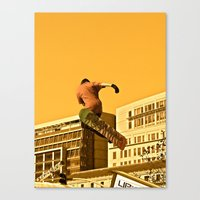 snowboarding Canvas Prints featuring City Snowboarding by Jphotoz