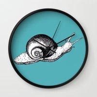 snail Wall Clocks featuring Snail by Aubree Eisenwinter
