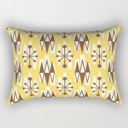 Retro Mid Century Modern Atomic Triangles 728 Brown and Yellow Rectangular Pillow