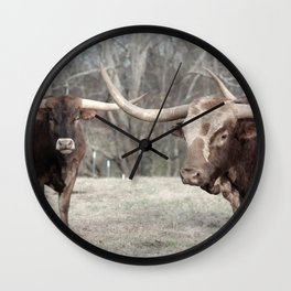 How ya doin? Long Horn Cattle Photography Wall Clock