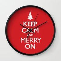 keep calm Wall Clocks featuring Keep Calm by Trend