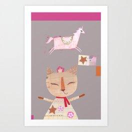 Collage Cat and Horse Art Print