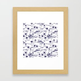 Tropical Island Vintage Hawaii Summer Pattern in Navy Blue Framed Art Print