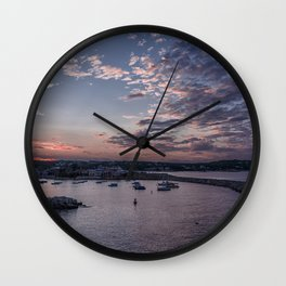 Sunset over Rockport Harbor Wall Clock