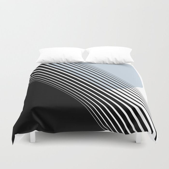 Rising Sun Minimal Japanese Abstract White Black Blue Duvet Cover