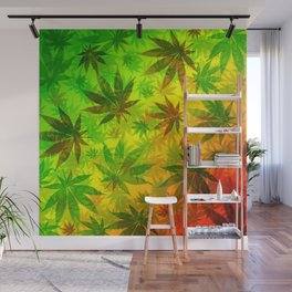 Marijuana Leaves Rasta Colors Wall Mural