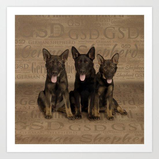 German Shepherd Puppies by k9printart