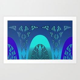 Orgy in blue pattern Art Print