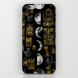Beautiful Tarot Print with Raven and Moon iPhone Skin