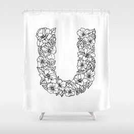 Floral Type - Letter U Shower Curtain