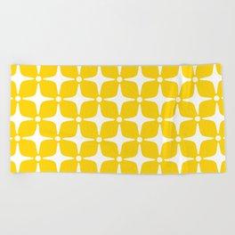 Mid Century Modern Star Pattern Yellow 2 Beach Towel