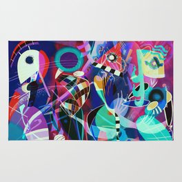 Night life, Wassily Kandinsky inspired geometric abstract art Rug