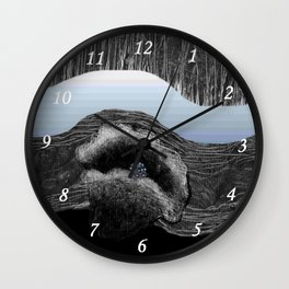 Dark flower and blue rivers Wall Clock