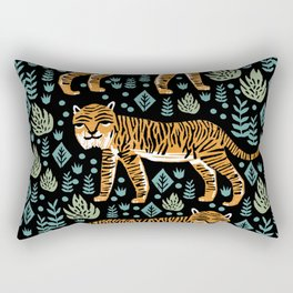 Tiger forest tropical tigers screen print art by andrea lauren Rectangular Pillow