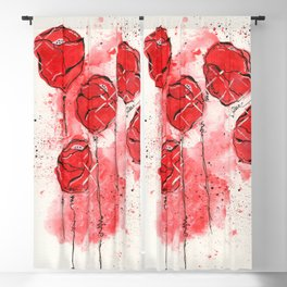 Crimson and Cream Splotch Floral Blackout Curtain