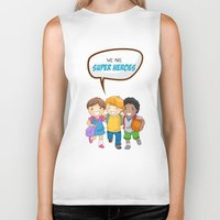 super heroes Biker Tanks featuring We are Super Heroes by youngmindz