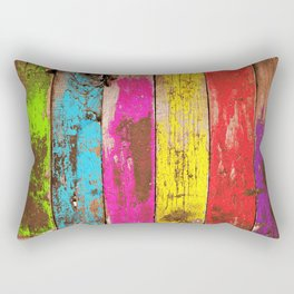 Vintage Colored Wood Rectangular Pillow