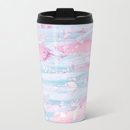 Shine Shimmer Pastel Pink and Blue Modern Metal Travel Mug