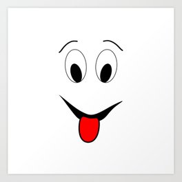 Funny face - black and red. Art Print