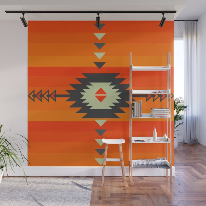Southwestern in orange and red Wall Mural