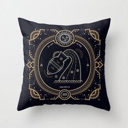 Aquarius Zodiac Golden White on Black Background Throw Pillow