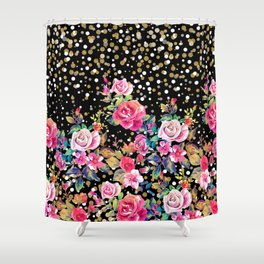 Modern watercolor spring floral and gold dots pattern Shower Curtain