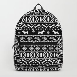 Westie fair isle west highland terrier christmas holiday gifts dog pattern black and white Backpack