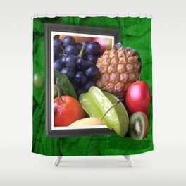Modern Fruit Basket Still Life Shower Curtain