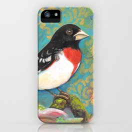 Red Breasted Grosbeak by Robynne iPhone Case