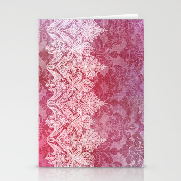 ABERDEEN HEIRLOOM, LACE & DAMASK: REBECCA'S RED Stationery Cards