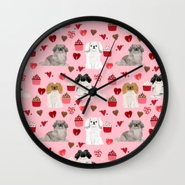 Pekingese valentines day dog breed cupcakes love hearts pet pattern gifts Wall Clock