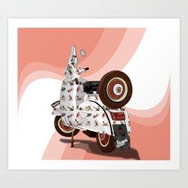 Vespa Vector PinUp Art Print