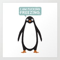 justin timberlake Art Prints featuring Talking Penguin by David Olenick