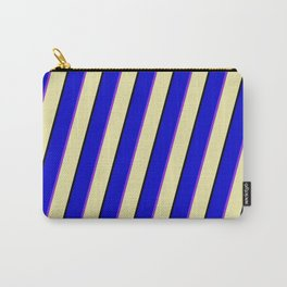 Blue, Purple, Pale Goldenrod, and Black Colored Pattern of Stripes Carry-All Pouch