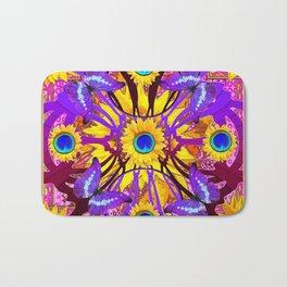 Decorative Purple Butterflies Abstract Yellow Floral Blue Pattern Art Bath Mat