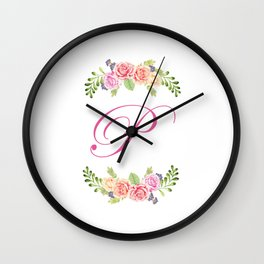 Floral Initial Letter P Wall Clock