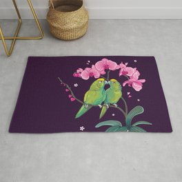 2 Amazon Parrots on a Pink Orchid Rug
