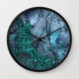 Malachite Glitter Stone and Ink Abstract Gem Glamour Marble Wall Clock