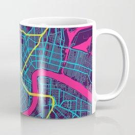 New Orleans Neon City Map, New Orleans Minimalist City Map Coffee Mug