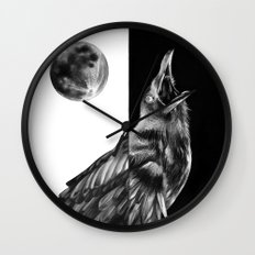 Crow and Full Moon Wall Clock