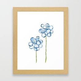 2 abstract indigo dandelions Framed Art Print
